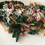 kale and beans on toast