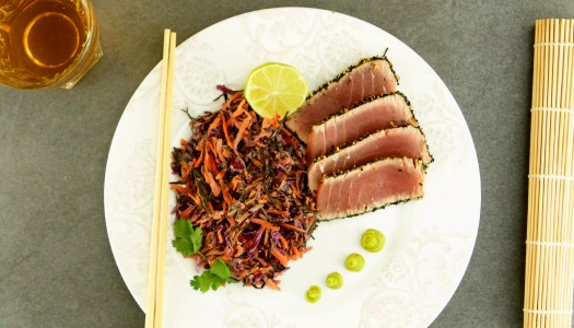 Sesame seared tuna and seaweed salad