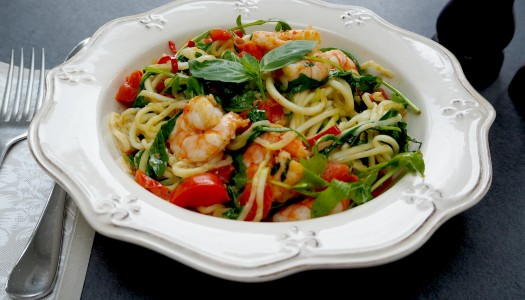 Tasty prawn courgetti