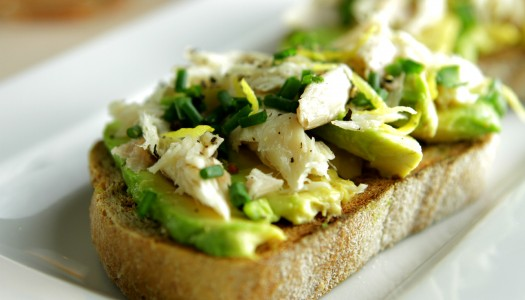 Mackerel and avocado bruschetta