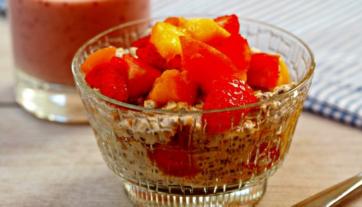 Peach and Strawberry Overnight Oats
