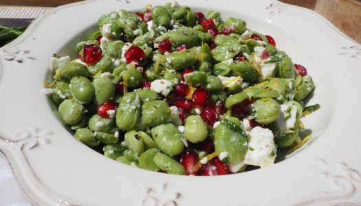 Broad bean, feta and pomegranate salad recipe